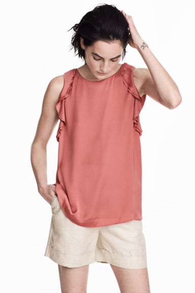 Sleeveless frilled top - Vintage pink - Ladies | H&M CN
