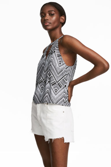 Sleeveless top - Black/Patterned - Ladies | H&M CN