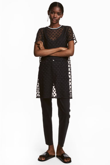 Mesh T-shirt dress - Black - Ladies | H&M CN
