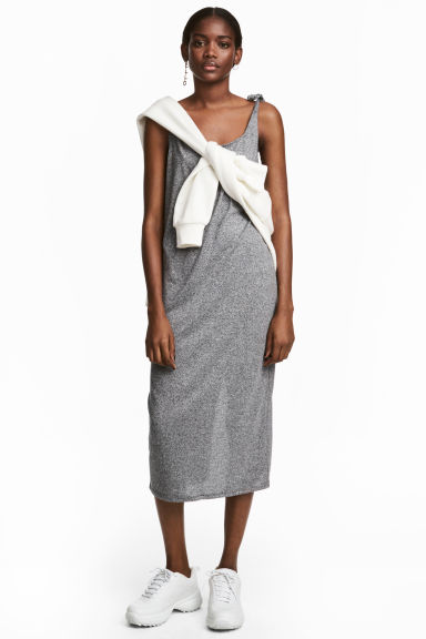 Calf-length jersey dress - Grey marl -  | H&M