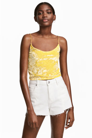 Crushed velvet strappy top - Yellow - Ladies | H&M