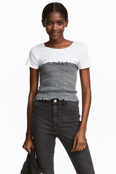 Smocked tube top - White/Dark blue/Striped - Ladies | H&M IE
