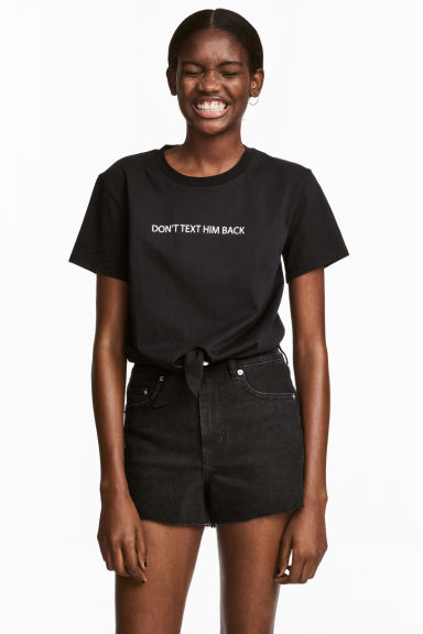 Tie top - Black/Text -  | H&M