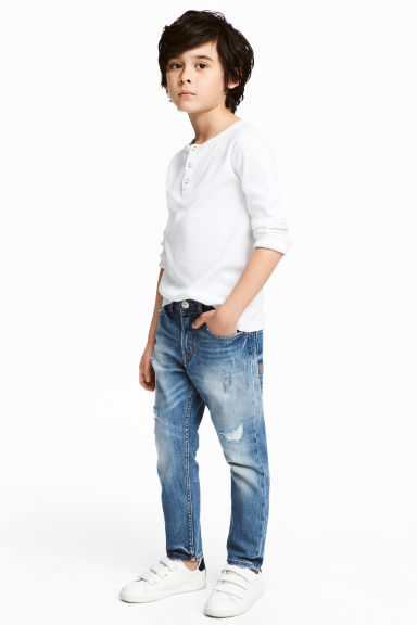 Relaxed Tapered Worn Jeans - Denim blue - Kids | H&M CN