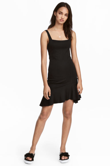 Jersey dress with a flounce - Black -  | H&M