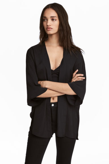 Satin cardigan - Black - Ladies | H&M