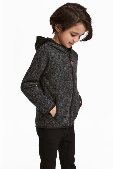 Knitted fleece jacket - Dark grey marl -  | H&M CN