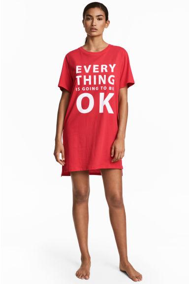3d9642d79dcd Nočná košeľa s potlačou - červená - ŽENY