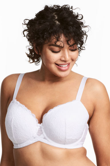 Padded underwired bra E/F cup - White -  | H&M CN