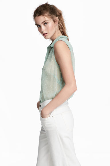 Sleeveless blouse - Mint green -  | H&M IE