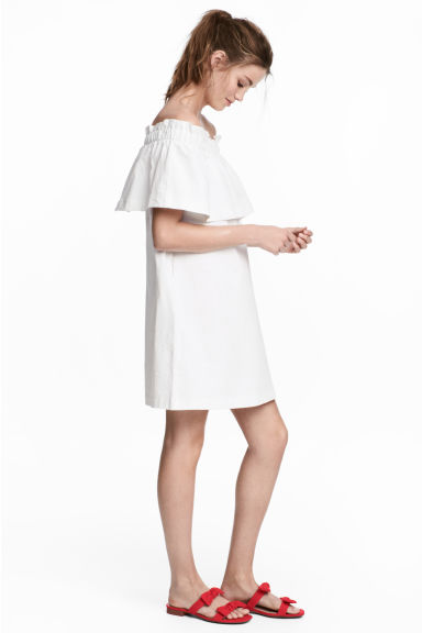 Off-the-shoulder dress - White - Ladies | H&M