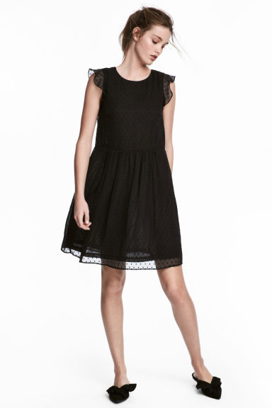 Dress with frilled sleeves - Black -  | H&M