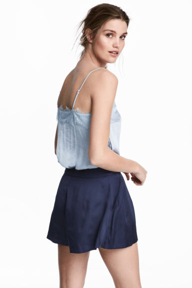 Satin strappy top with lace - Light blue - Ladies | H&M