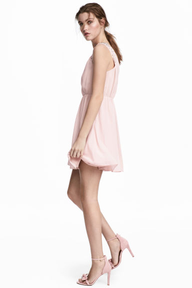 Crêpe chiffon dress - Light pink -  | H&M