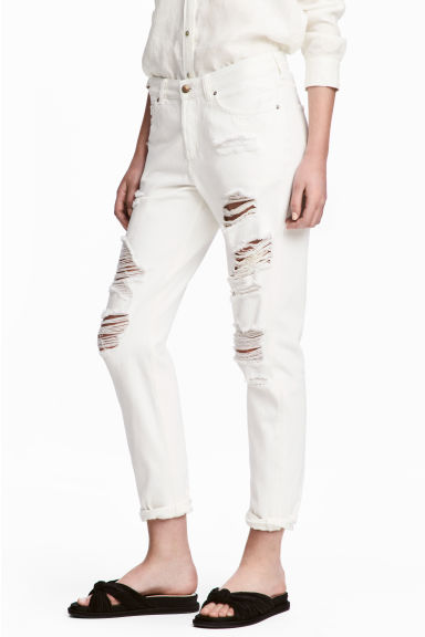 Boyfriend Low Ripped Jeans - White denim - Ladies | H&M IE