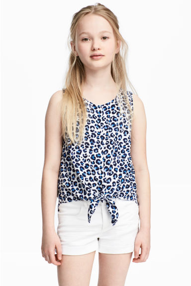 Sleeveless tie blouse - White/Leopard print - Kids | H&M CN