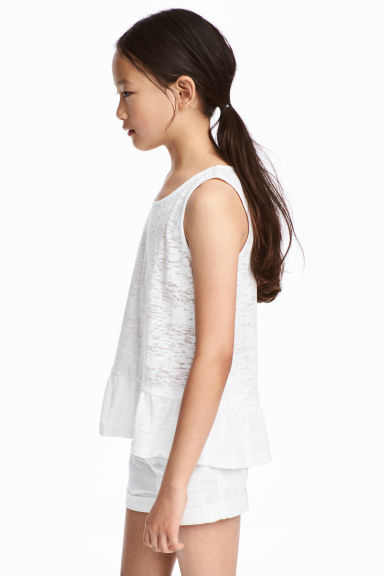 Burnout vest top - White -  | H&M