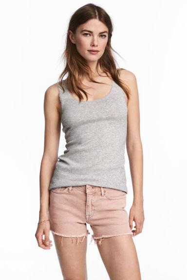 Lace-trimmed cotton vest top - Grey marl - Ladies | H&M