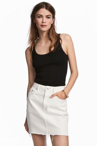 Lace-trimmed cotton vest top - Black - Ladies | H&M CN
