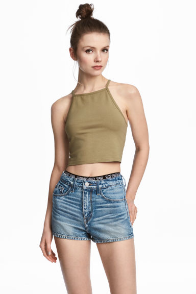Short strappy top - Khaki -  | H&M