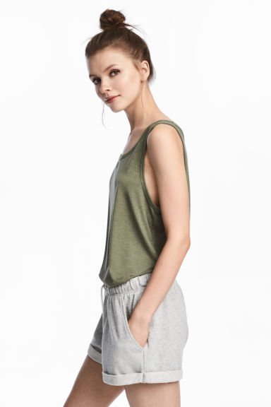 Wide vest top - Khaki green -  | H&M