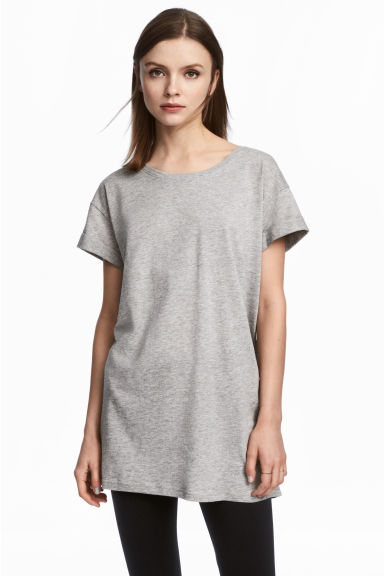 Long T-shirt - Grey marl - Ladies | H&M CN