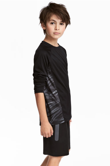 Long-sleeved sports top - Black - Kids | H&M CN