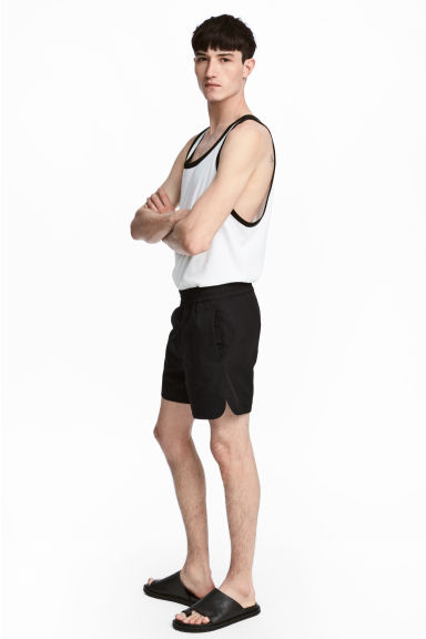Short cotton-blend shorts - Black -  | H&M