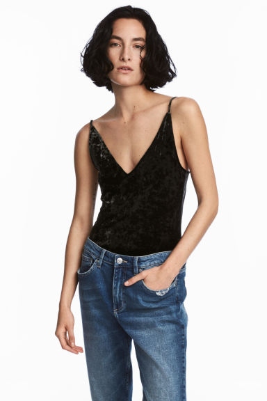 Crushed velvet body - Black - Ladies | H&M