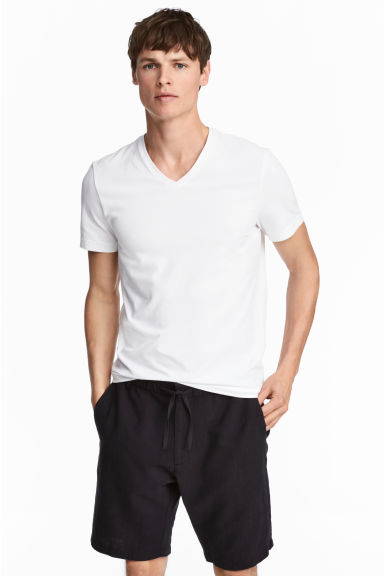 V-neck T-shirt Slim fit - White - Men | H&M