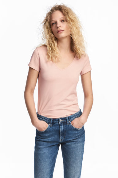 V-neck jersey top - Powder pink - Ladies | H&M