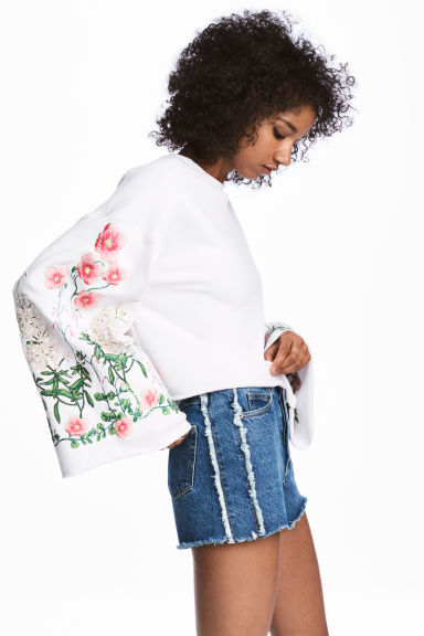 Embroidered sweatshirt - White/Floral - Ladies | H&M