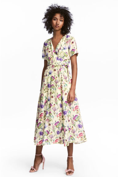 Patterned wrap dress - Light yellow/Floral - Ladies | H&M CN