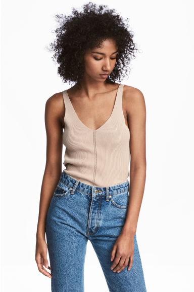 Ribbed top - Light beige - Ladies | H&M IE