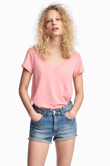 Slub jersey V-neck top - Pink -  | H&M