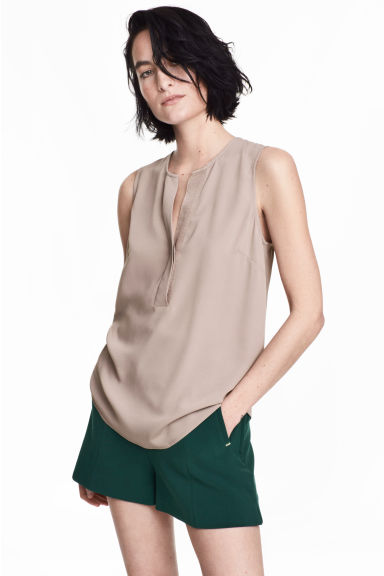 Sleeveless blouse - Light mole -  | H&M