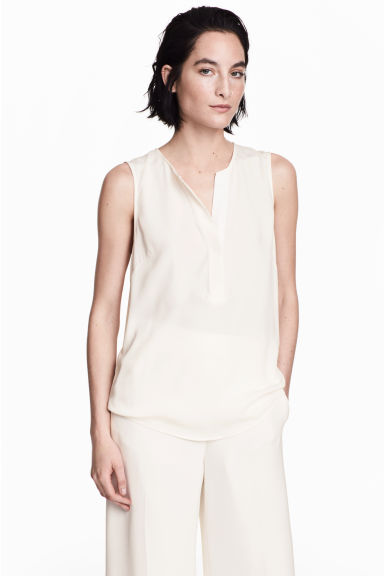 Sleeveless blouse - Natural white - Ladies | H&M CN