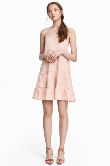 Dress with hemstitching - Powder pink - Ladies | H&M