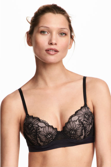 Lace push-up bra - Black -  | H&M