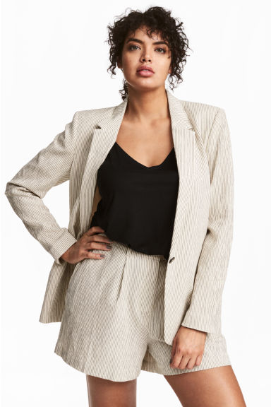 H&M+ Pinstriped jacket - Natural white/Striped -  | H&M