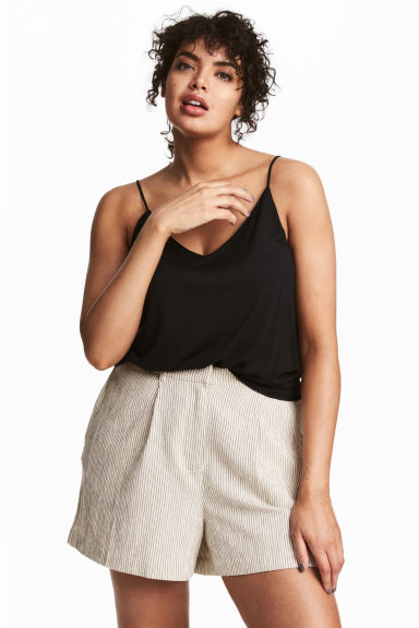 H&M+ Striped shorts - Natural white/Striped -  | H&M