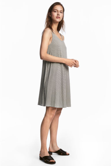 A-line jersey dress - Natural white/Patterned -  | H&M CN