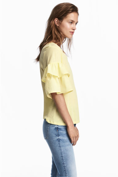 Jersey flounce-sleeved top - Light yellow -  | H&M GB