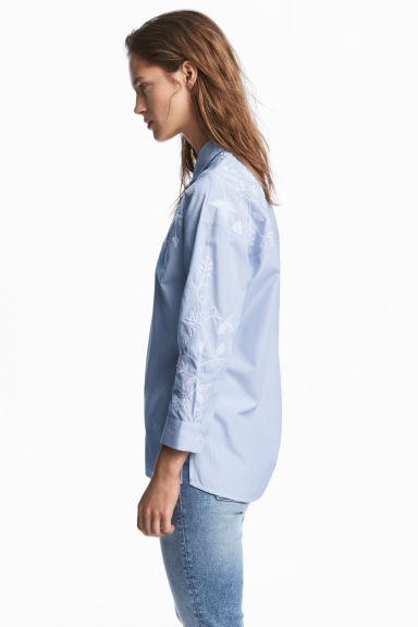 Embroidered shirt - Blue/White/Striped -  | H&M IE
