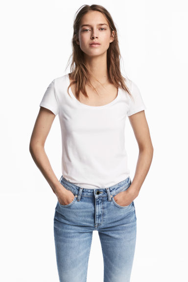 Tricot T-shirt - Wit - DAMES | H&M BE