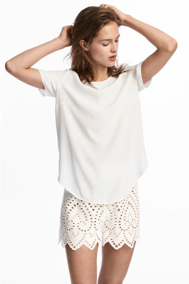 Short avec broderie anglaise - Blanc -  | H&M BE