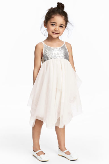 Tulle dress - Natural white/Silver -  | H&M