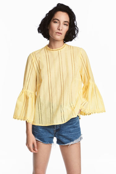 Hole-embroidered cotton blouse - Light yellow - Ladies | H&M CN