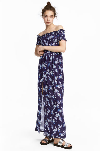Lange off-the-shoulderjurk - Donkerblauw/bloemen - DAMES | H&M NL