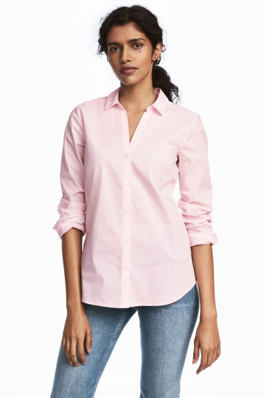 V-neck Shirt - Light pink/Striped - Ladies | H&M US